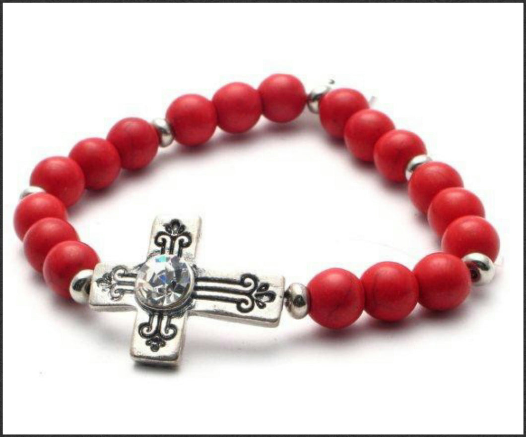Antique Cross (Red) Bracelet - Whitehot Jewellery - 1