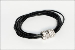 Leather Bracelet/Black - Whitehot Jewellery - 1