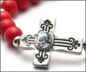 Antique Cross (Red) Bracelet - Whitehot Jewellery - 2