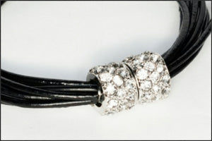 Leather Bracelet/Black - Whitehot Jewellery - 2