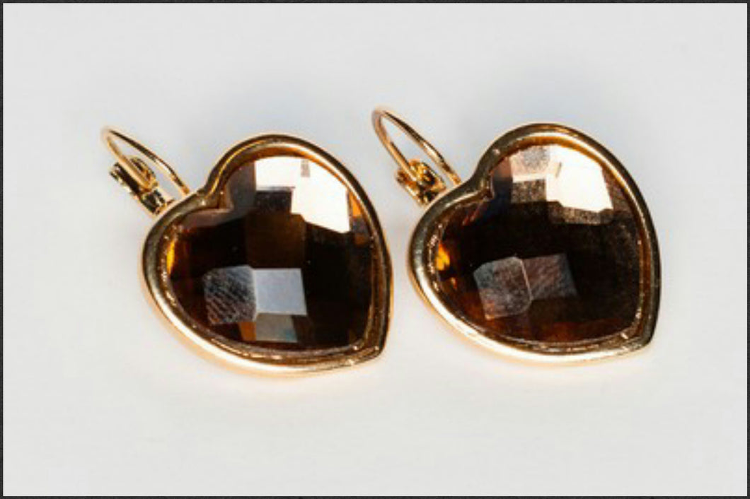 Amber Heart Earrings - Whitehot Jewellery - 1