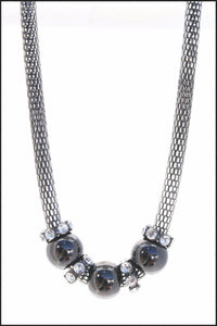 Black Ball & Crystal Necklace - Whitehot Jewellery - 1
