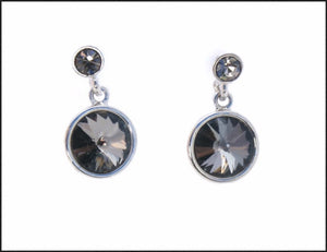 Black Crystal Drop Earrings - Whitehot Jewellery - 1