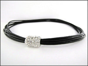 Black Leather Necklace - Whitehot Jewellery - 1
