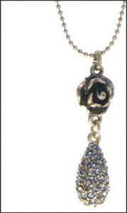 Bronze Rose w Teardrop Necklace - Whitehot Jewellery - 2