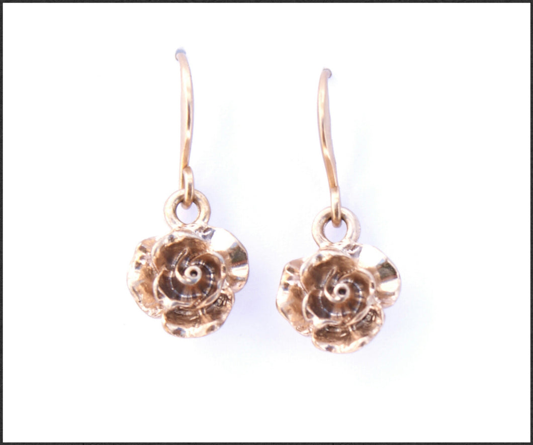 Gold Rose Drop Earrings - Whitehot Jewellery - 1