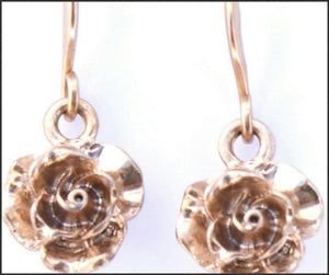 Gold Rose Drop Earrings - Whitehot Jewellery - 2
