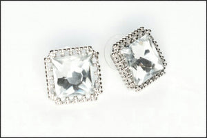 Large CZ Stud Earrings - Whitehot Jewellery - 1