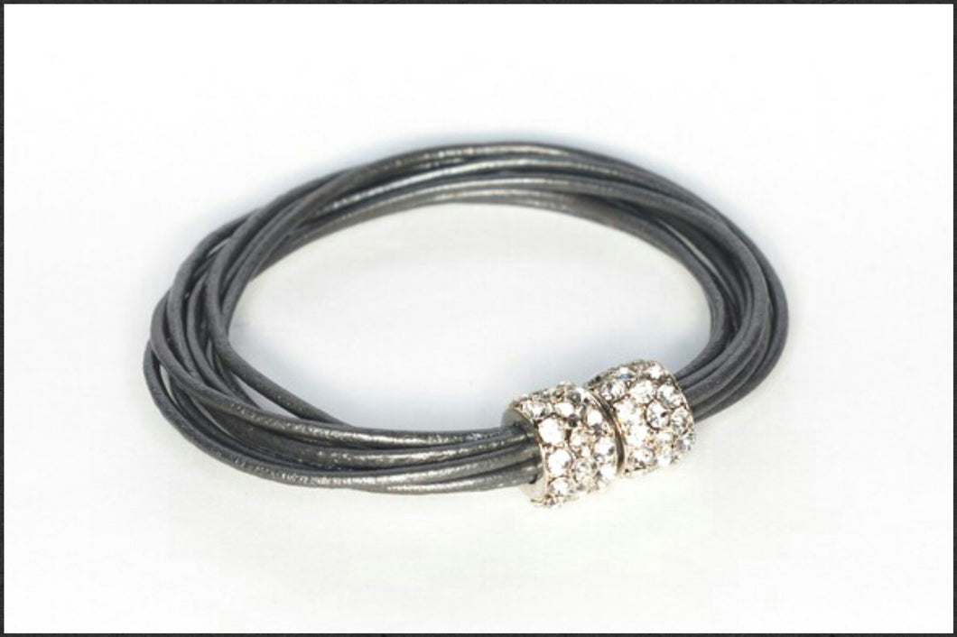 Leather Bracelet/Silver - Whitehot Jewellery - 1