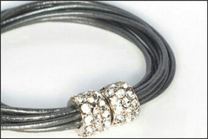 Leather Bracelet/Silver - Whitehot Jewellery - 2