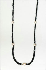 Pearl & Black Crystal Necklace - Whitehot Jewellery - 1