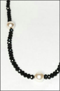 Pearl & Black Crystal Necklace - Whitehot Jewellery - 2