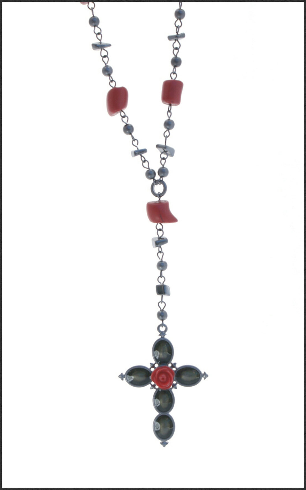 Red and Black Cross Necklace - Whitehot Jewellery - 1