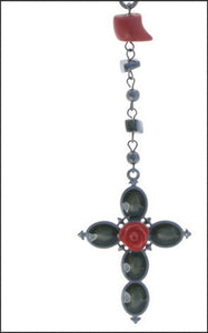 Red and Black Cross Necklace - Whitehot Jewellery - 2