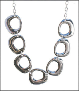 Silver 7 Disc Necklace - Whitehot Jewellery - 1