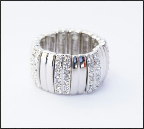 Silver Crystal Stretch Ring - Whitehot Jewellery - 1