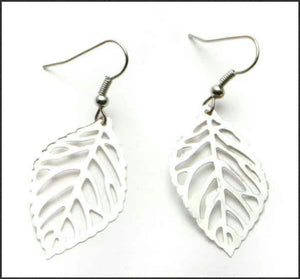 Silver Leaf Earrings - Whitehot Jewellery - 1