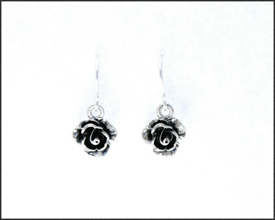 Silver Rose Drop Earrings - Whitehot Jewellery - 1