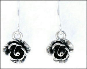 Silver Rose Drop Earrings - Whitehot Jewellery - 2