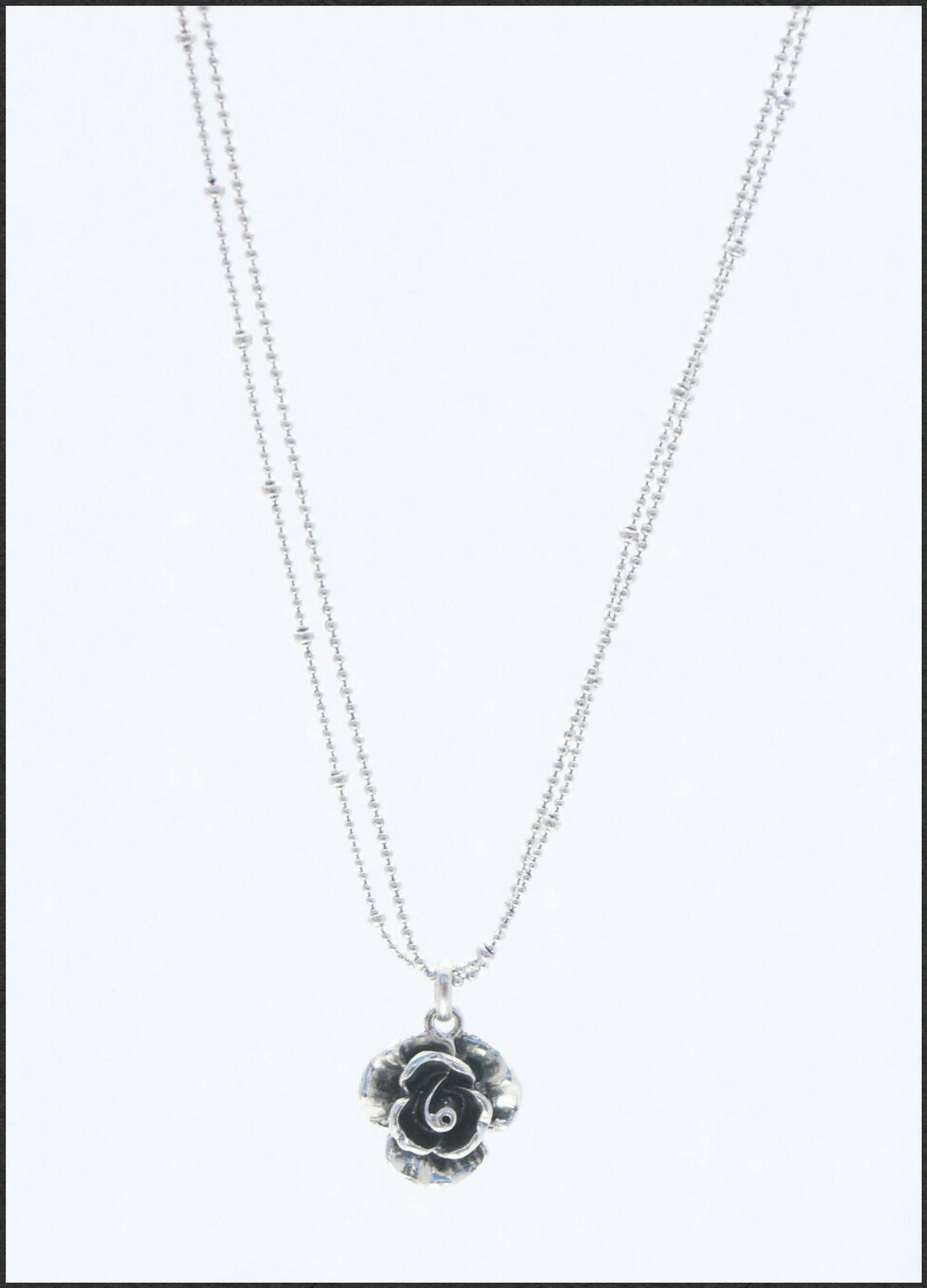 Silver Rose Necklace - Whitehot Jewellery - 1