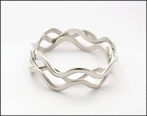 Silver Wave Bangle - Whitehot Jewellery - 1