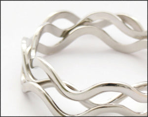 Silver Wave Bangle - Whitehot Jewellery - 2