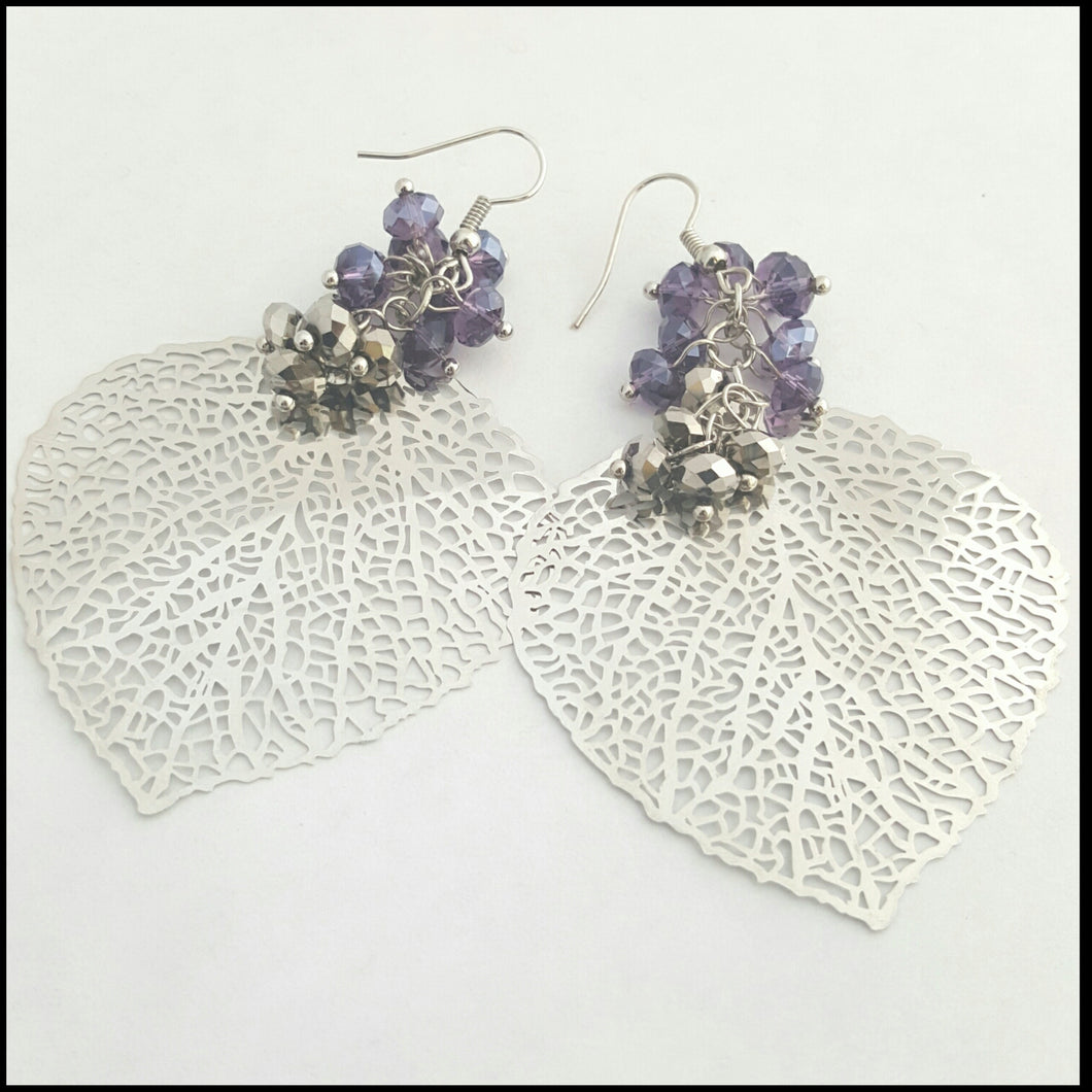 Silver Leaf & Crystal Earrings - Whitehot Jewellery - 1