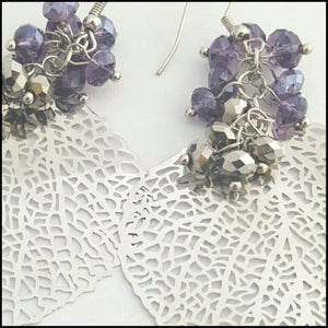 Silver Leaf & Crystal Earrings - Whitehot Jewellery - 2