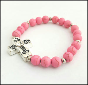 Antique Cross ( Candyfloss) Bracelet - Whitehot Jewellery - 1