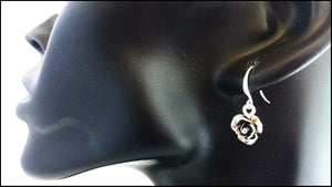 Silver Rose Drop Earrings - Whitehot Jewellery - 3