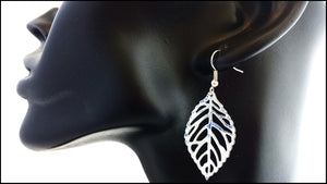 Silver Leaf Earrings - Whitehot Jewellery - 3