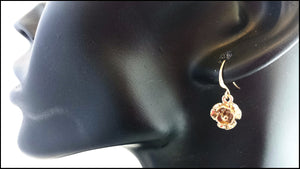 Gold Rose Drop Earrings - Whitehot Jewellery - 3