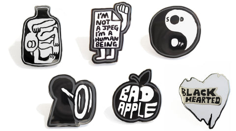 Jody Barton's Black Hearted Enamel Badges