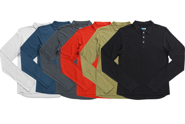 Modal® / cotton long sleeve polo shirt