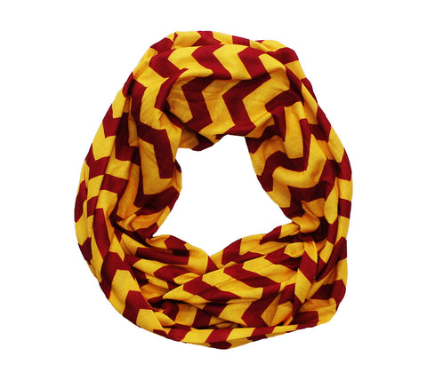Dark Red & Gold Chevron Infinity Scarf