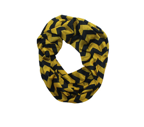 Old Gold & Black Chevron Infinity Scarf