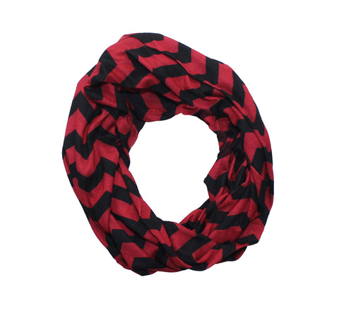 Red & Black Chevron Infinity Scarf