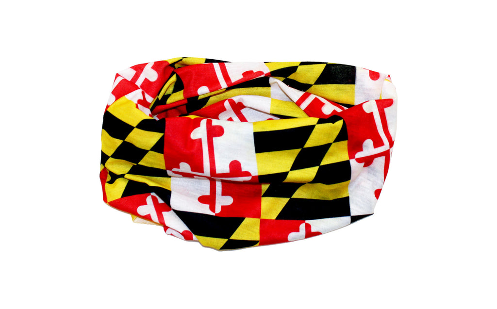 Maryland State Flag Tube Scarf - Maryland Bandana Facemask Ascot - MD