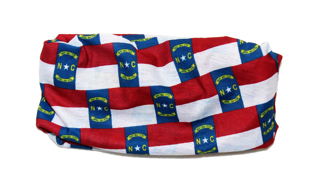 North Carolina Flag Tube Scarf - State of NC Bandana Headwear Ascot