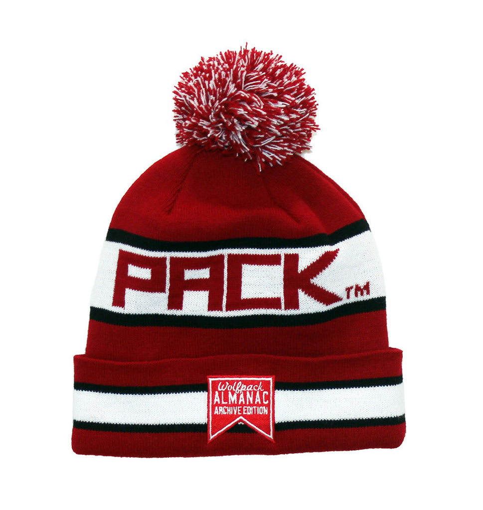 NC State Wolfpack Beanie - NCSU Hungry Wolf Retro Pom Beanie