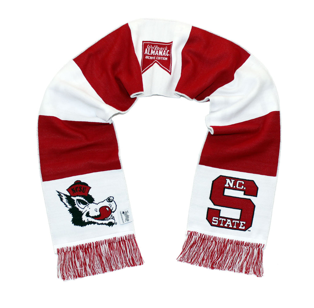 NC State Wolfpack Scarf - Hungry Wolf Throwback White Woven