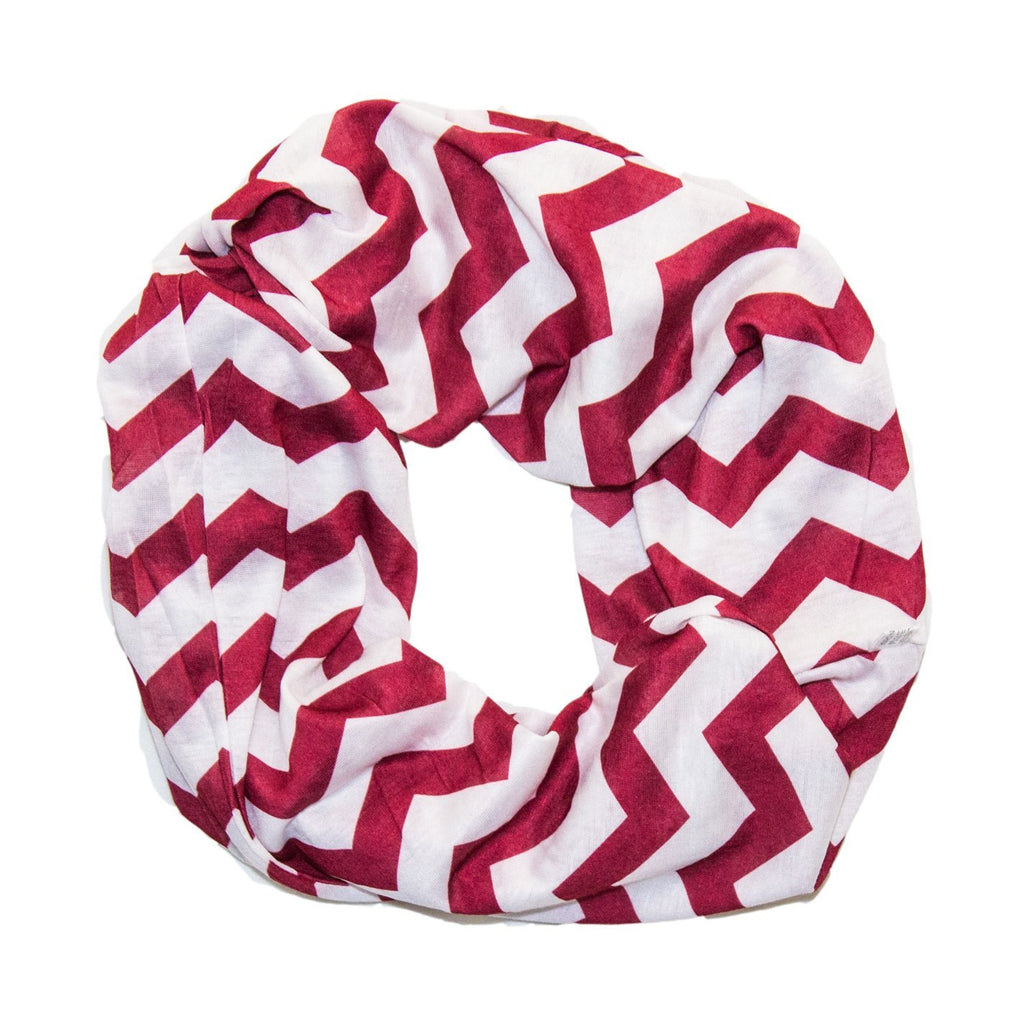 7641a17d1a4 Red & White Chevron Infinity Scarf