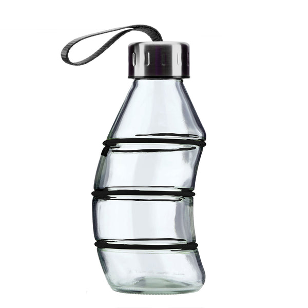 350ML BLACK CURVY REUSABLE GLASS BOTTLE