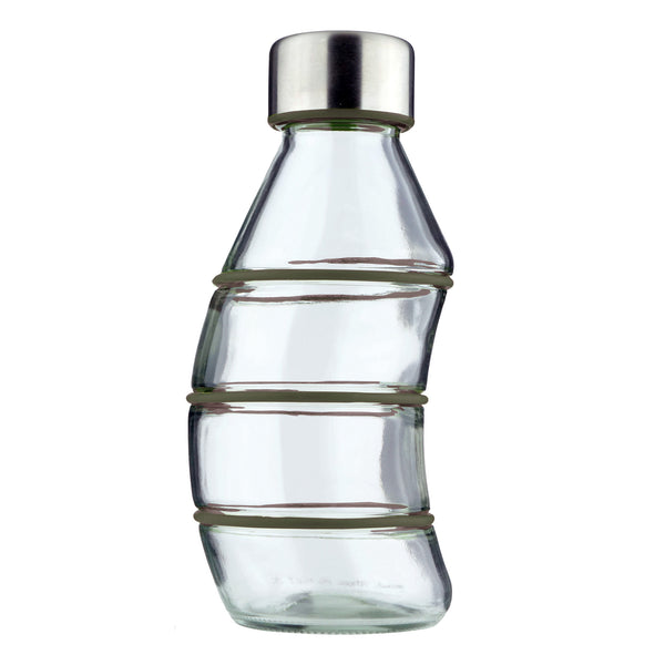 KHAKI CURVY GLASS BOTTLE