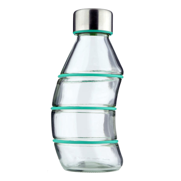 TURQUOISE CURVY GLASS BOTTLE