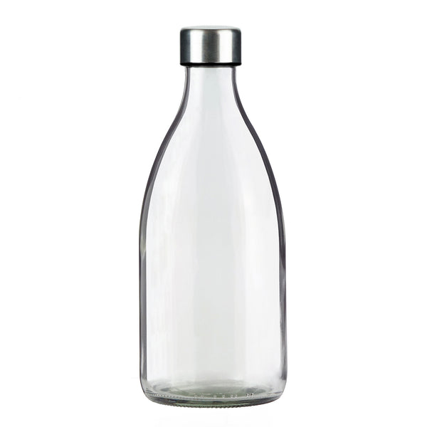 1.0L CLEAR GLASS BOTTLE - STAINLESS