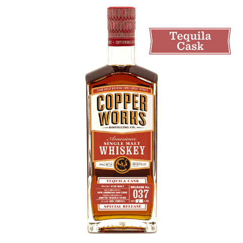 SOLD OUT! Copperworks Tequila Cask American Single Malt Whiskey Release 037 (750ml)