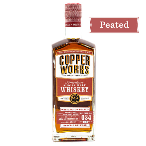 Copperworks WA Peated American Single Malt Whiskey Release 034 (750ml)