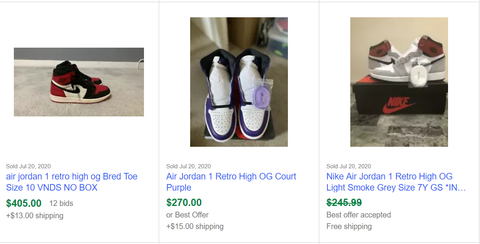 Screen Shot from Ebay Search