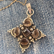 Byzantine Cross 925 Smokey Quartz Pendant - PopRock Vintage. The cool quotes t-shirt store.